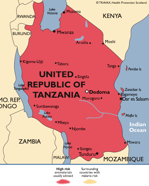 Tanzania - mapa ryzyka malarii